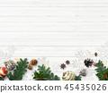 背景白色牆壁聖誕節裝飾品 45435026
