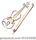 Elegant violin and bow, drawing with flowing lines 45435608
