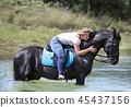 horse, river, horseback 45437156