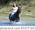 horse, woman, river 45437165