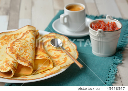 Pancakes with jam and Espresso 45438567