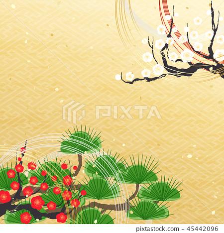 新年松紅色白色李子水 45442096