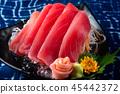 Tuna sashimi slice cutting. 45442372