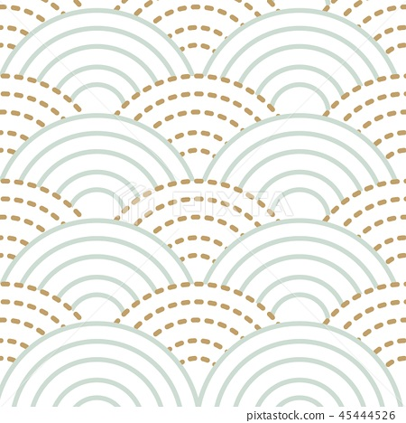 Japanese wave pattern vector. Gold and blue nature 45444526