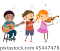 Stickman Kids Play Instruments Country Music 45447478