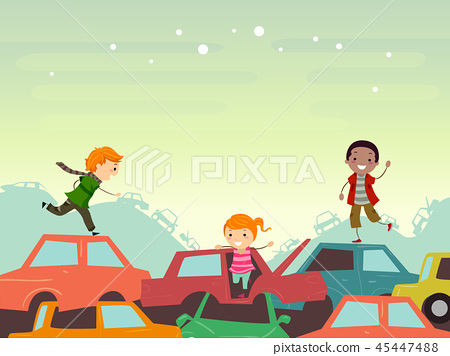 Stickman Kids Junkyard Scene Illustration 45447488