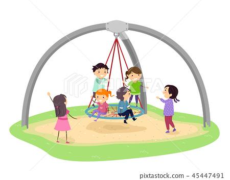 Stickman Kids Giant Birds Nest Swing Illustration 45447491