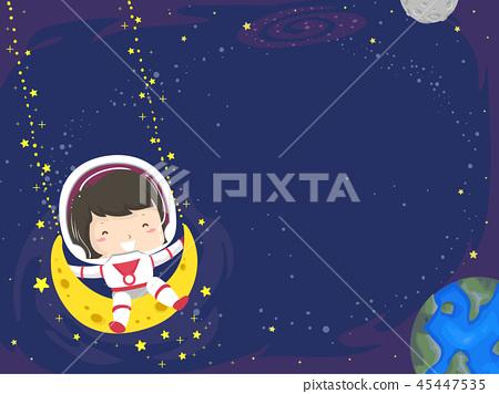 Kid Girl Swing Moon Space Background Illustration 45447535