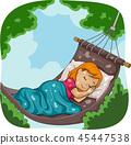 Kid Girl Sleep Hammock Illustration 45447538