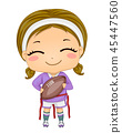 Kid Girl Flag Foot Ball Illustration 45447560