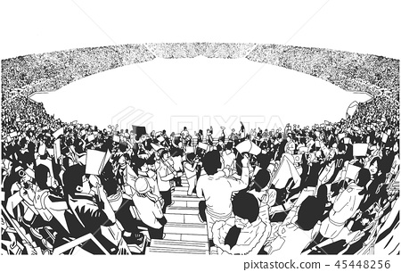 Illustration of sport stadium crowd cheering 45448256