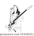 Illustration of young musician playing guitar 45448261
