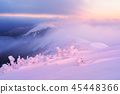 Winter landscape with mountain peaks 45448366