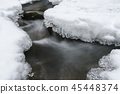Beautiful icicles and snow near the creek 45448374