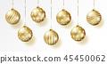 Golden realistic vector Christmas balls set. 45450062