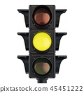 Traffic light with yellow color, 3D rendering 45451222
