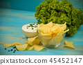 Potato chips in bowl on a blue wooden background 45452147