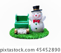 Snowman on grass. Isolated on white background  45452890