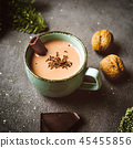 Close up of cup with hot chocolate in rustic style 45455856