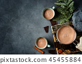 Top view of hot chocolate on dark background 45455884