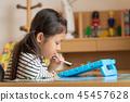 女孩,孩子房,學習,平板電腦學習 45457628