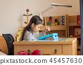 소녀, 아이 방, 공부, 태블릿 학습 45457630