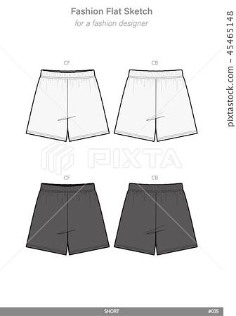 PANTS SHORT Fashion flat technical drawing 45465148