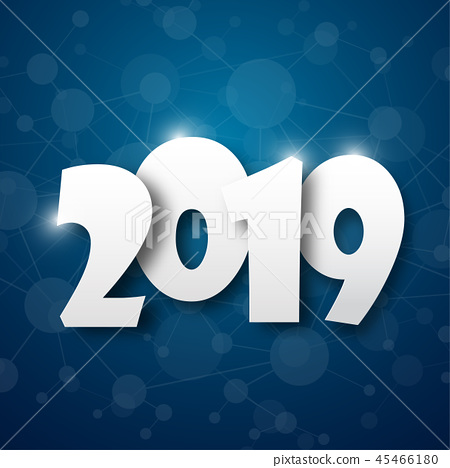 Happy new 2019 year. Greetings card.  45466180