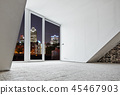 Glass door in apartment and view on night city li 45467903