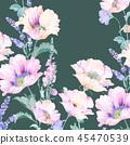 우아한 수채화 분홍색 장미와 작약 꽃 45470539