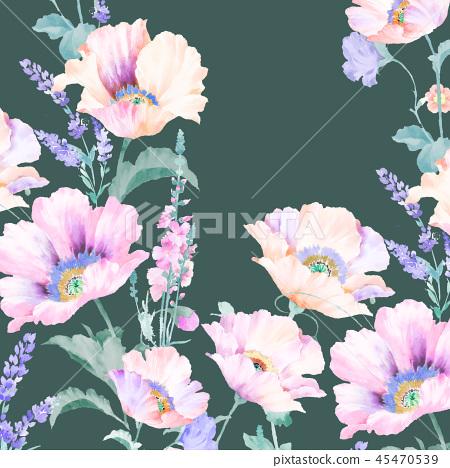 優雅的水彩粉色玫瑰花和牡丹花花卉 45470539