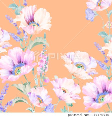 優雅的水彩粉色玫瑰花和牡丹花花卉 45470540