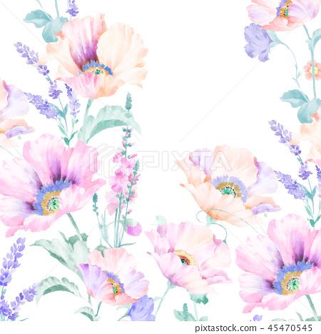 우아한 수채화 분홍색 장미와 작약 꽃 45470545