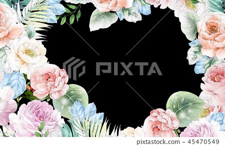 優雅的水彩粉色玫瑰花和牡丹花花卉 45470549