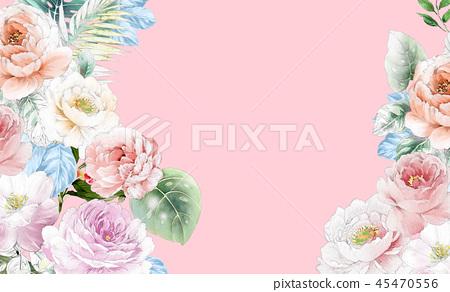 優雅的水彩粉色玫瑰花和牡丹花花卉 45470556