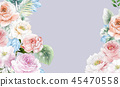 우아한 수채화 분홍색 장미와 작약 꽃 45470558