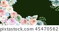 우아한 수채화 분홍색 장미와 작약 꽃 45470562