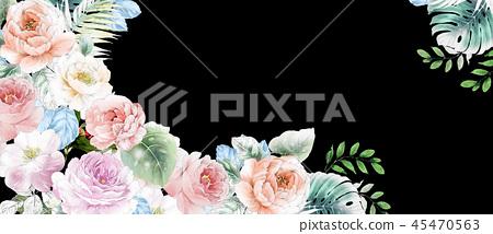 優雅的水彩粉色玫瑰花和牡丹花花卉 45470563