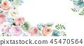 우아한 수채화 분홍색 장미와 작약 꽃 45470564