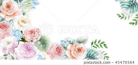 優雅的水彩粉色玫瑰花和牡丹花花卉 45470564