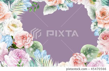 優雅的水彩粉色玫瑰花和牡丹花花卉 45470566