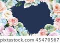 우아한 수채화 분홍색 장미와 작약 꽃 45470567
