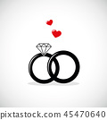 wedding rings icon with red heart 45470640