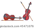 Close up of a violin on white background 45471076