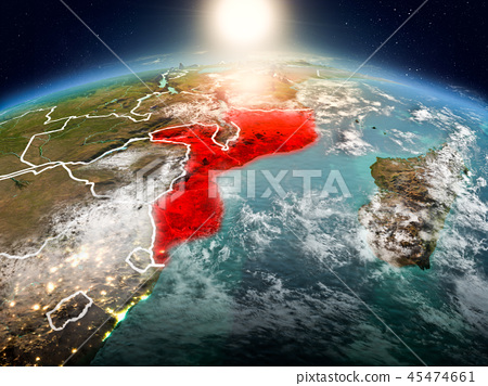 Mozambique in sunrise from orbit 45474661