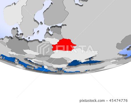 Belarus on globe 45474776