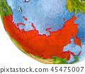 Russia on globe 45475007