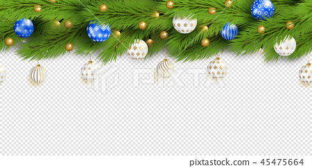 Detailed Seamless Christmas Garland. Realistic vector 45475664