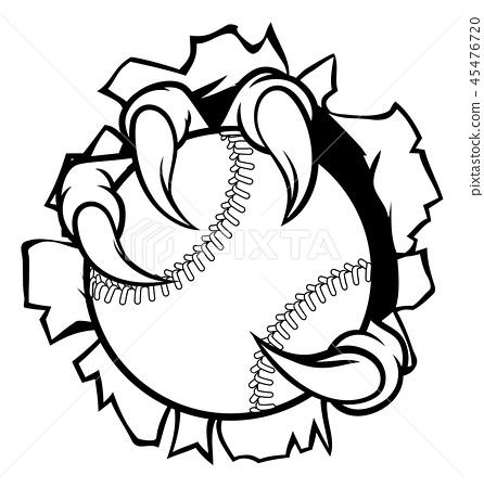 Baseball Ball Eagle Claw Talons Tearing Background 45476720
