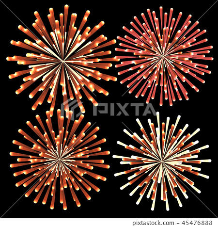 Set of colorful fireworks, element for new year 45476888